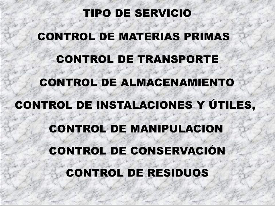 TIPO DE SERVICIO CONTROL DE MATERIAS PRIMAS. CONTROL DE TRANSPORTE. CONTROL DE ALMACENAMIENTO. CONTROL DE INSTALACIONES Y ÚTILES,