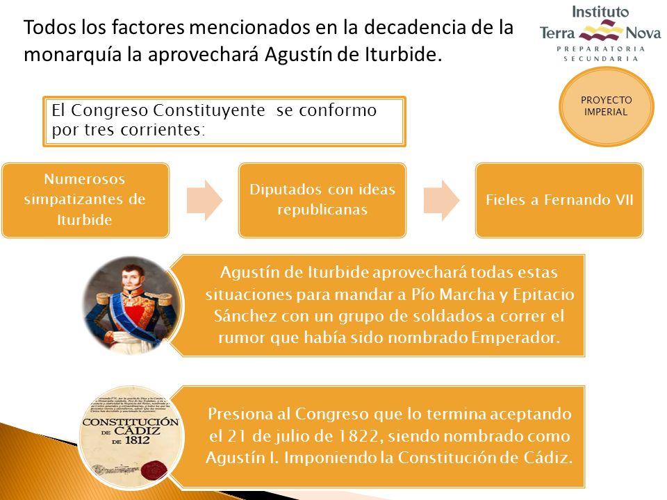Todos los factores mencionados en la decadencia de la monarquía la aprovechará Agustín de Iturbide.