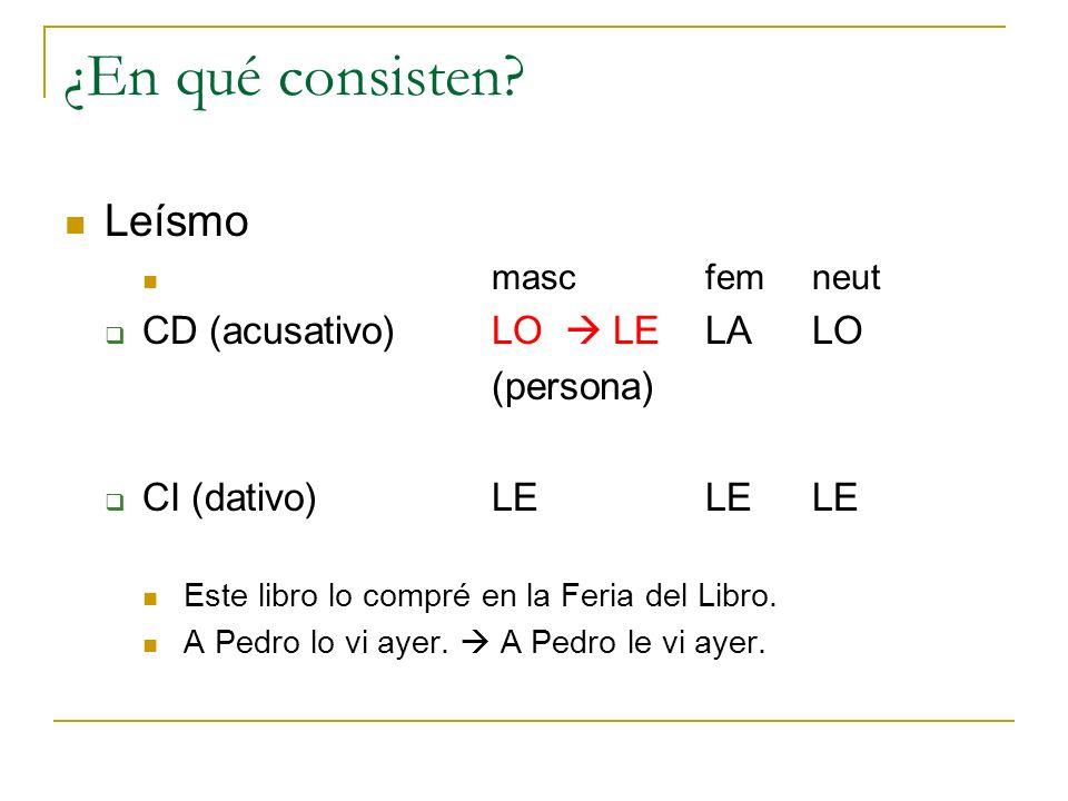 ¿En qué consisten Leísmo CD (acusativo) LO  LE LA LO (persona)