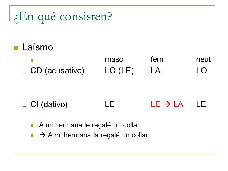 ¿En qué consisten Laísmo CD (acusativo) LO (LE) LA LO