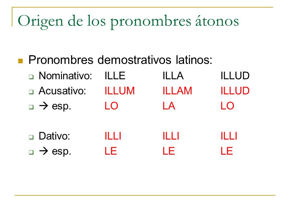 Origen de los pronombres átonos