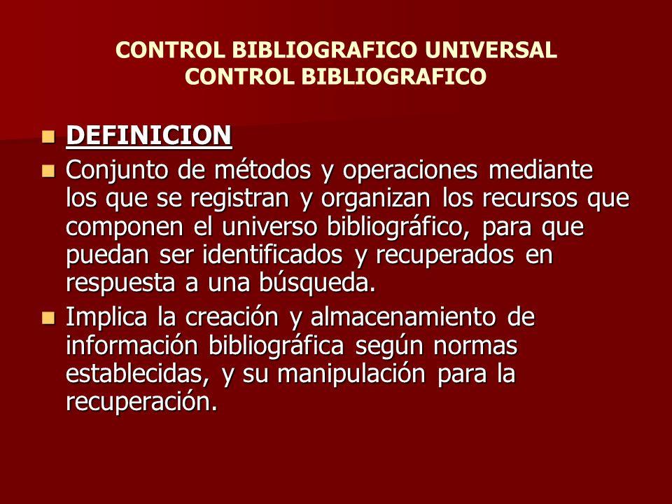 Control bibliografico universal control bibliografico for Universal definicion