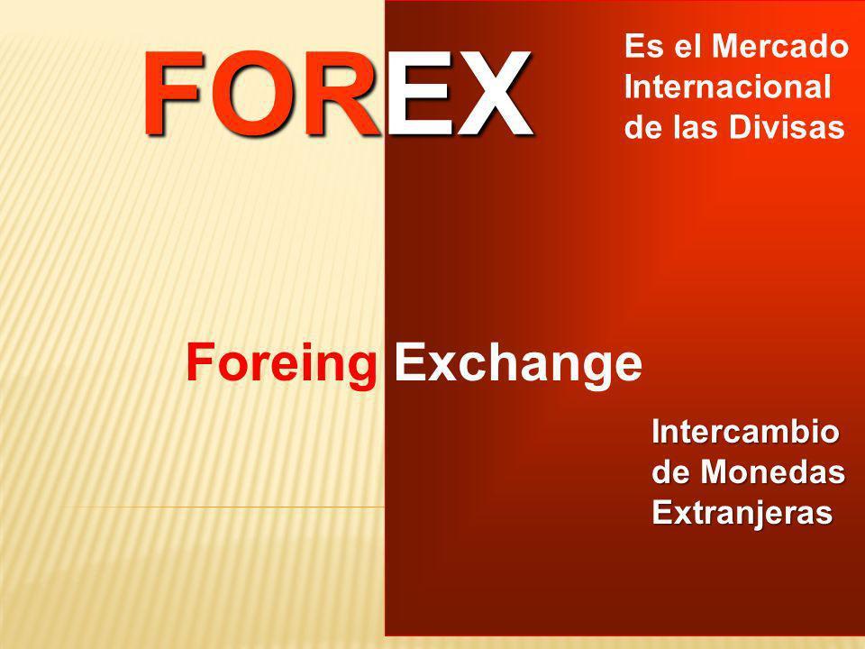 FOREX Foreing Exchange Es el Mercado Internacional de las Divisas