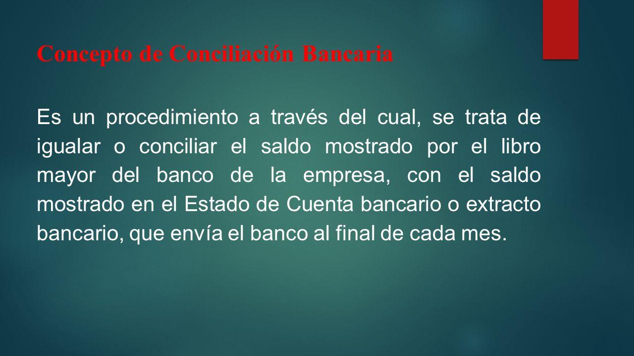 Concepto de Conciliación Bancaria