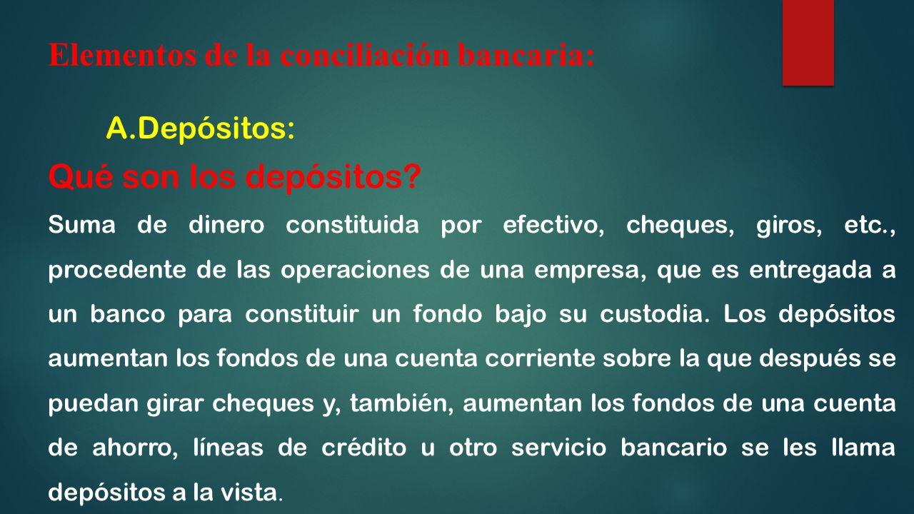 Elementos de la conciliación bancaria: