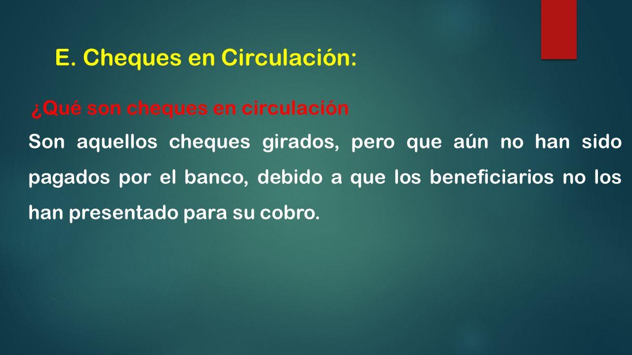 E. Cheques en Circulación: