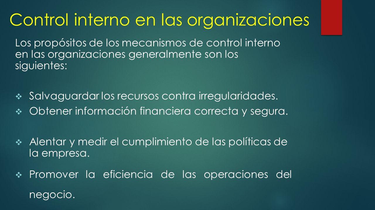 Control interno en las organizaciones