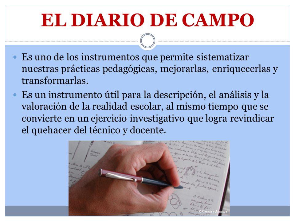 EL DIARIO DE CAMPO Es uno de los instrumentos que permite sistematizar nuestras prácticas pedagógicas, mejorarlas, enriquecerlas y transformarlas.