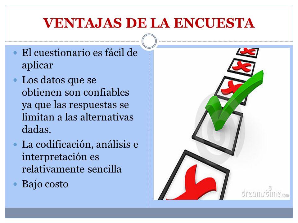 VENTAJAS DE LA ENCUESTA