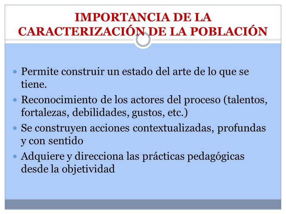IMPORTANCIA DE LA CARACTERIZACIÓN DE LA POBLACIÓN
