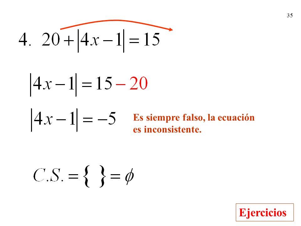Es siempre falso, la ecuación
