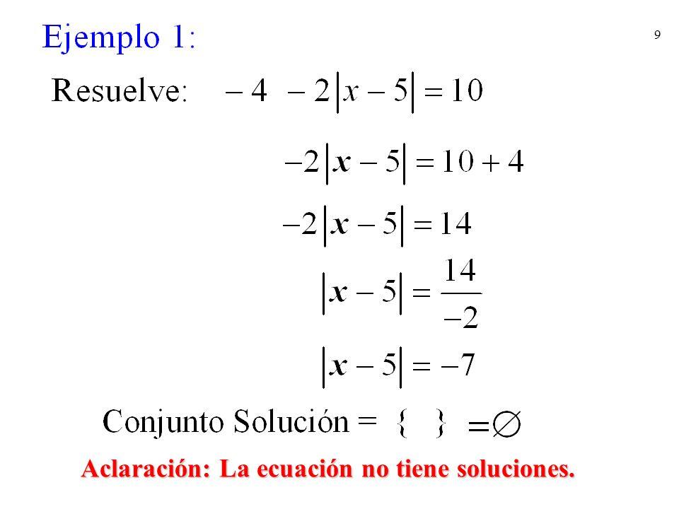 Aclaración: La ecuación no tiene soluciones.