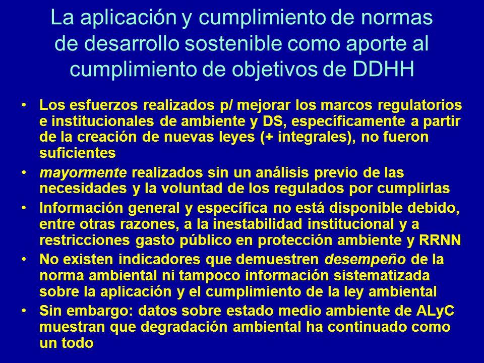 La aplicación y cumplimiento de normas de desarrollo sostenible como aporte al cumplimiento de objetivos de DDHH