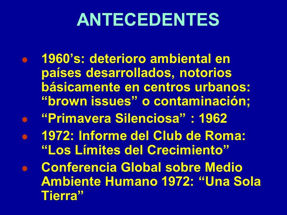 ANTECEDENTES 1960's: deterioro ambiental en países desarrollados, notorios básicamente en centros urbanos: brown issues o contaminación;
