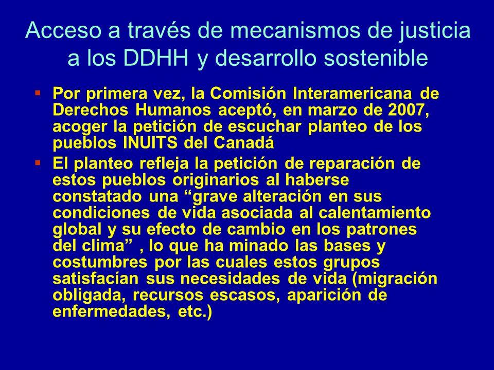 Acceso a través de mecanismos de justicia a los DDHH y desarrollo sostenible