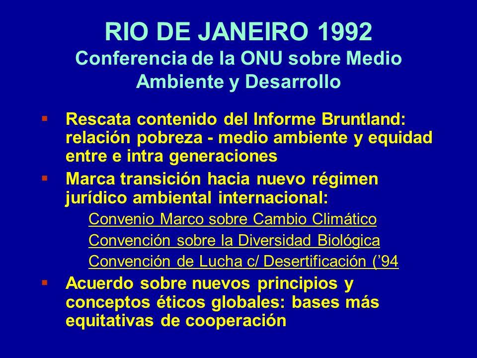 RIO DE JANEIRO 1992 Conferencia de la ONU sobre Medio Ambiente y Desarrollo
