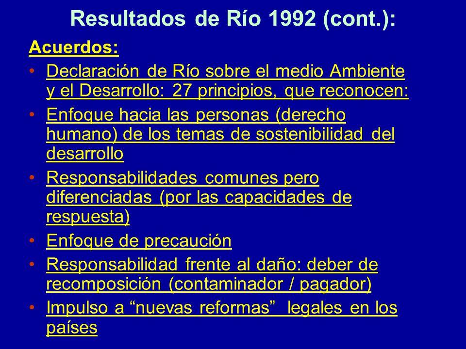 Resultados de Río 1992 (cont.):