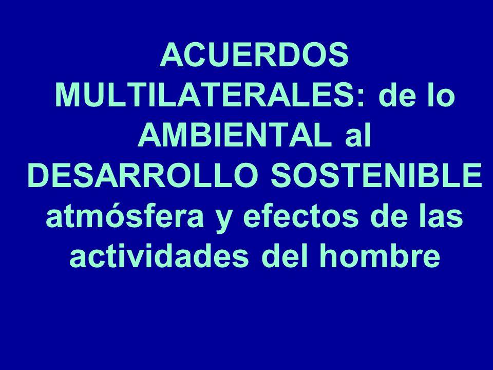 ACUERDOS MULTILATERALES: de lo AMBIENTAL al DESARROLLO SOSTENIBLE atmósfera y efectos de las actividades del hombre