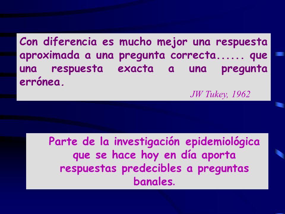 Con diferencia es mucho mejor una respuesta aproximada a una pregunta correcta...... que una respuesta exacta a una pregunta errónea. JW Tukey, 1962
