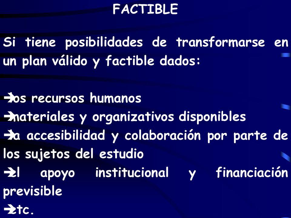 FACTIBLE Si tiene posibilidades de transformarse en un plan válido y factible dados: los recursos humanos.