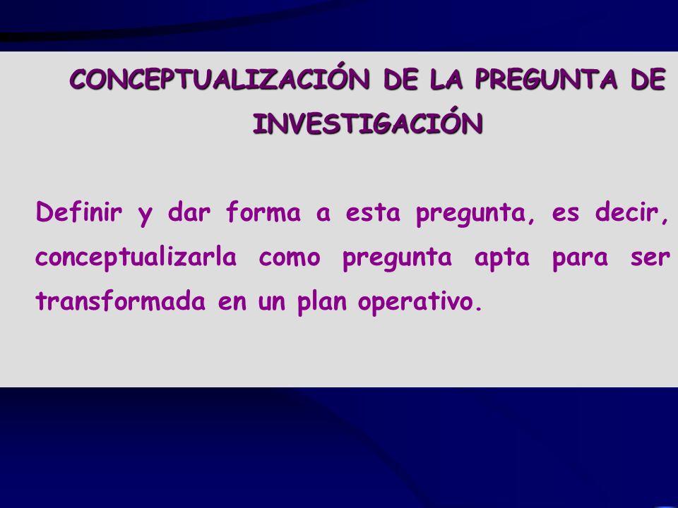 CONCEPTUALIZACIÓN DE LA PREGUNTA DE INVESTIGACIÓN