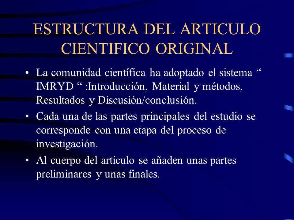 ESTRUCTURA DEL ARTICULO CIENTIFICO ORIGINAL