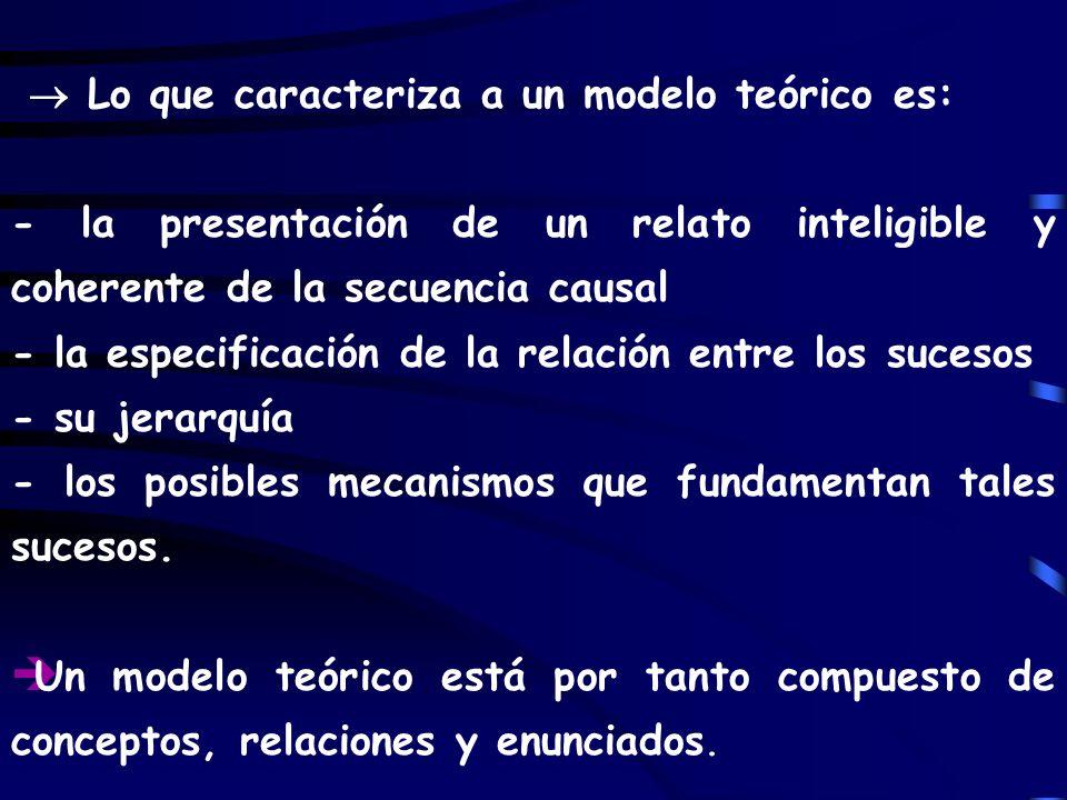  Lo que caracteriza a un modelo teórico es: