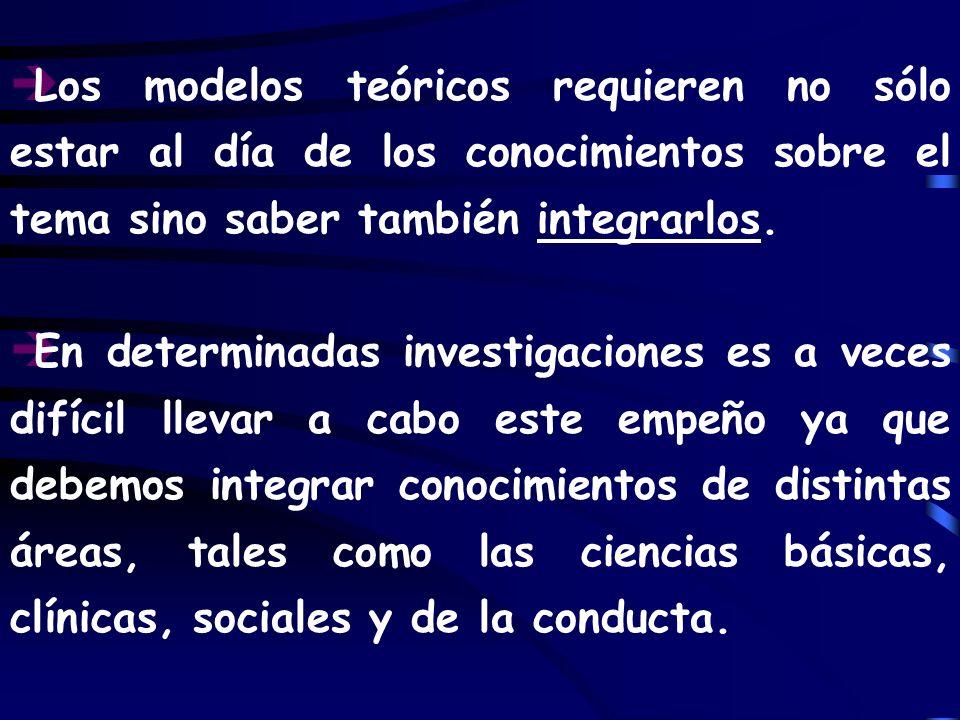 Los modelos teóricos requieren no sólo estar al día de los conocimientos sobre el tema sino saber también integrarlos.