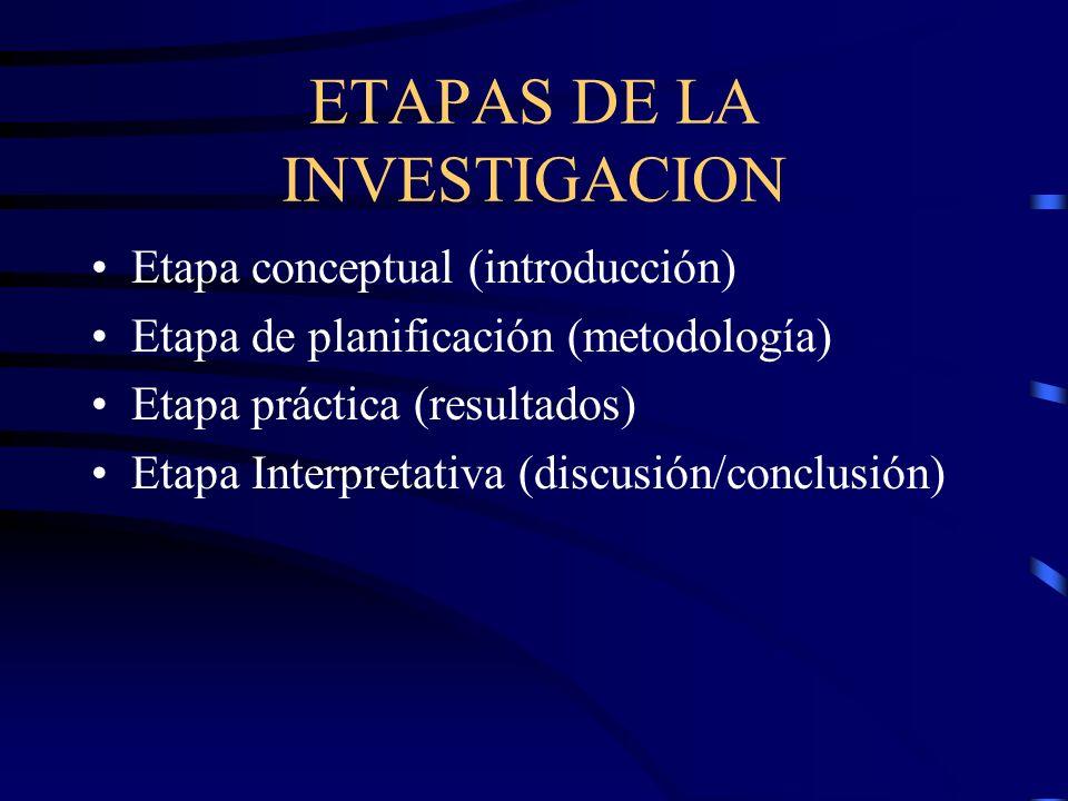ETAPAS DE LA INVESTIGACION