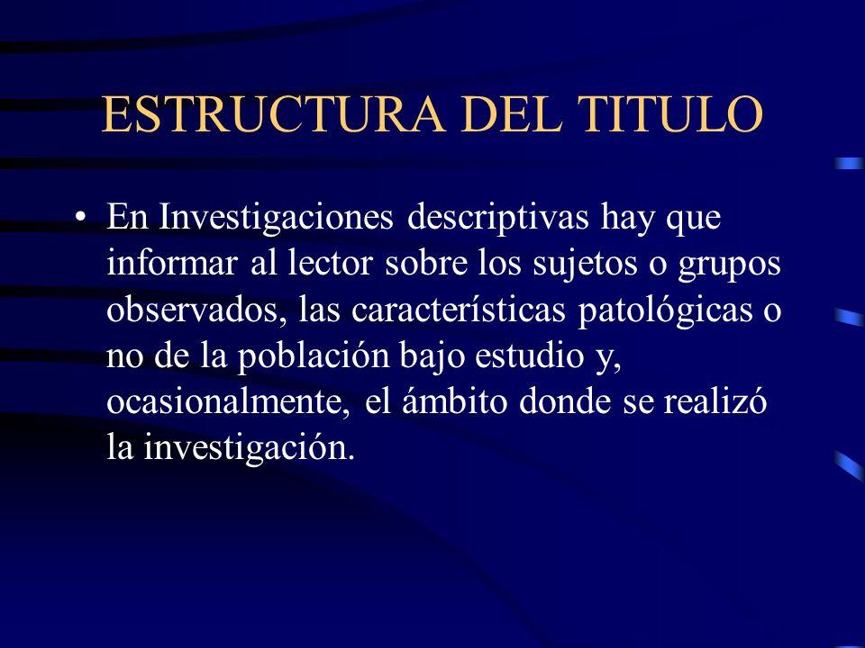 ESTRUCTURA DEL TITULO