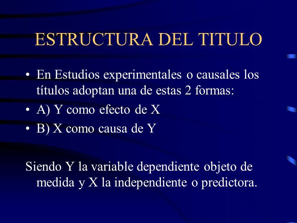 ESTRUCTURA DEL TITULO En Estudios experimentales o causales los títulos adoptan una de estas 2 formas: