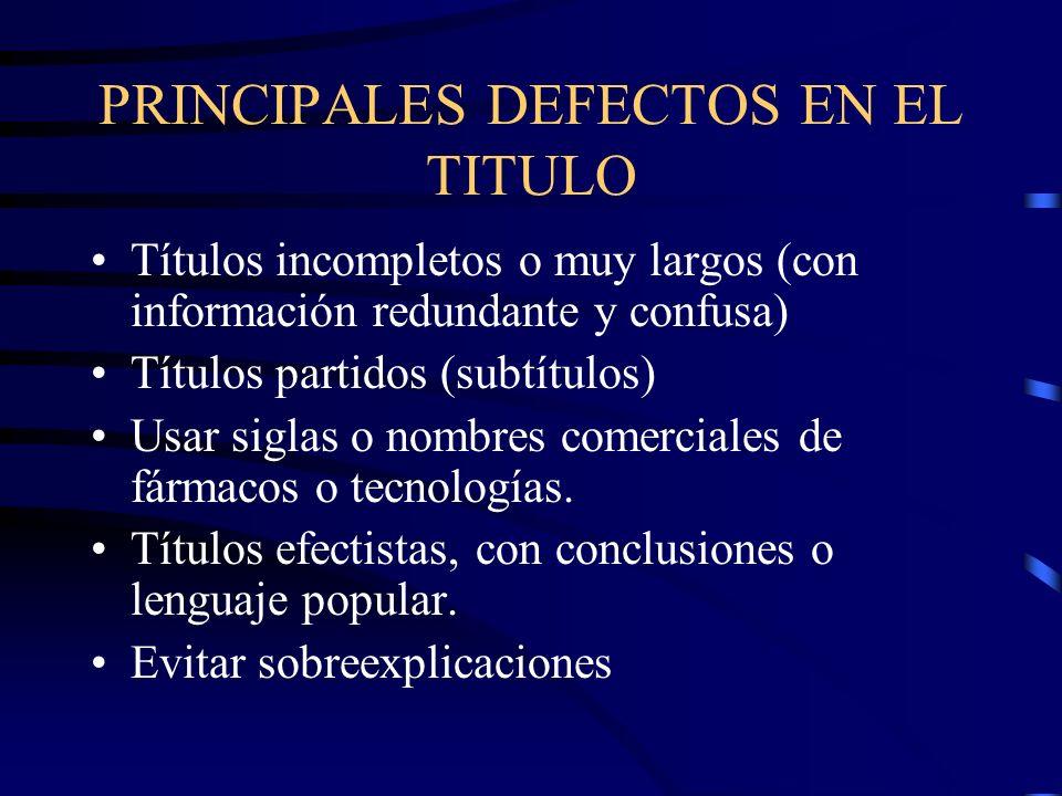 PRINCIPALES DEFECTOS EN EL TITULO