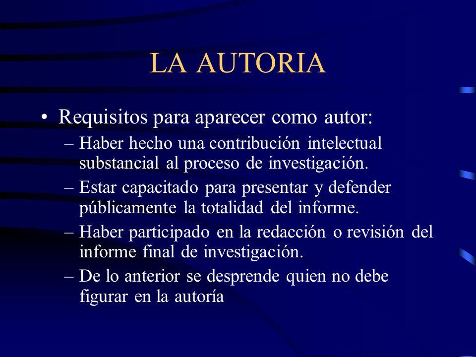 LA AUTORIA Requisitos para aparecer como autor: