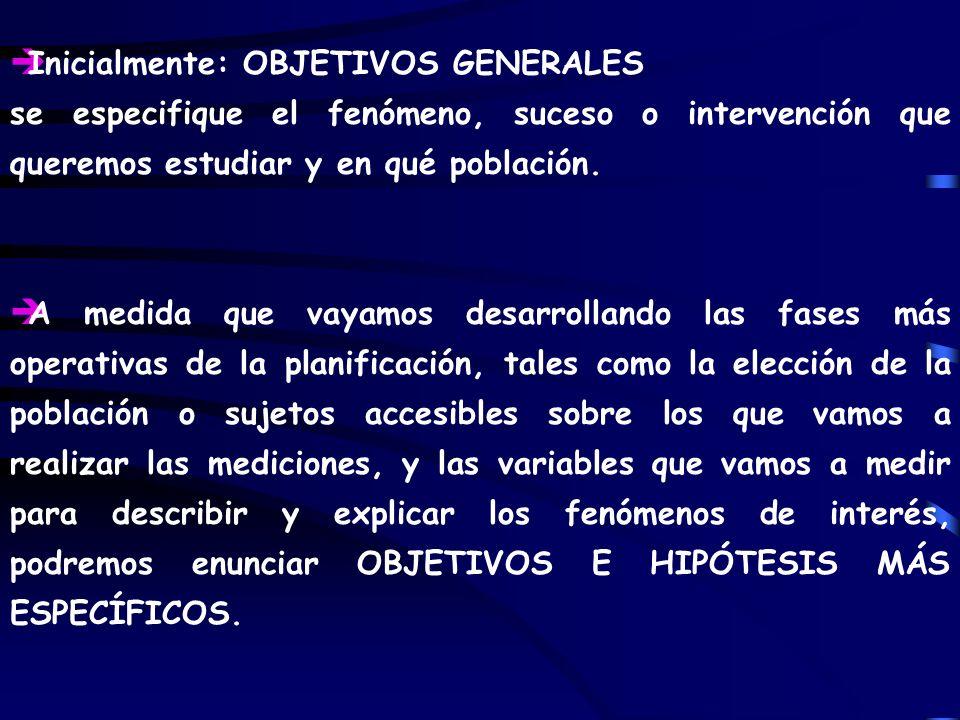 Inicialmente: OBJETIVOS GENERALES
