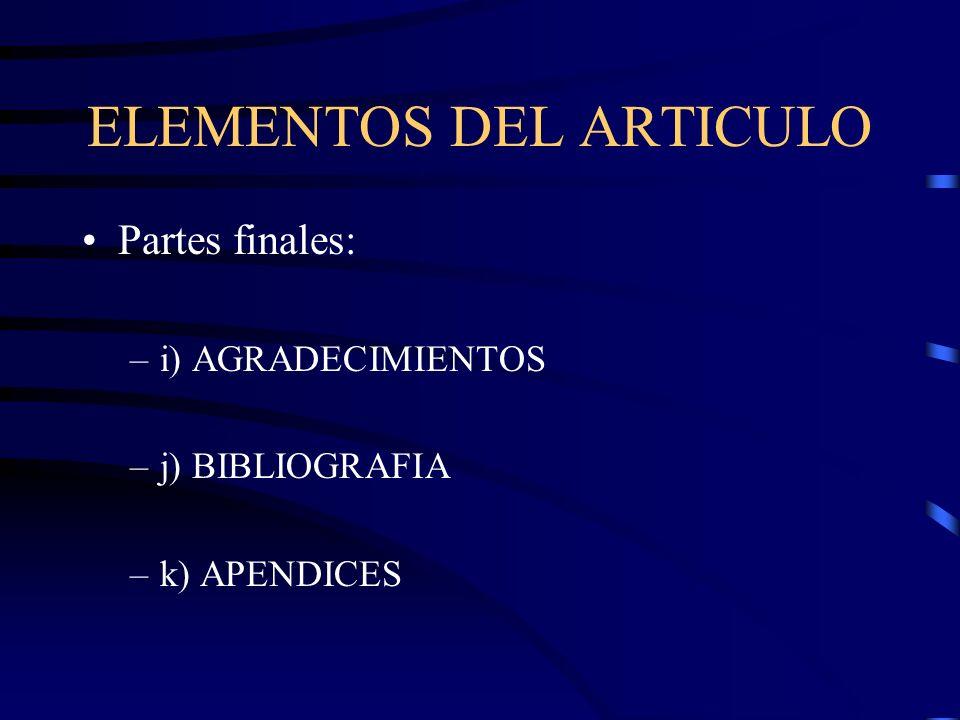 ELEMENTOS DEL ARTICULO