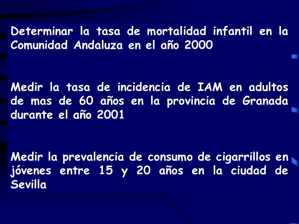 Determinar la tasa de mortalidad infantil en la Comunidad Andaluza en el año 2000