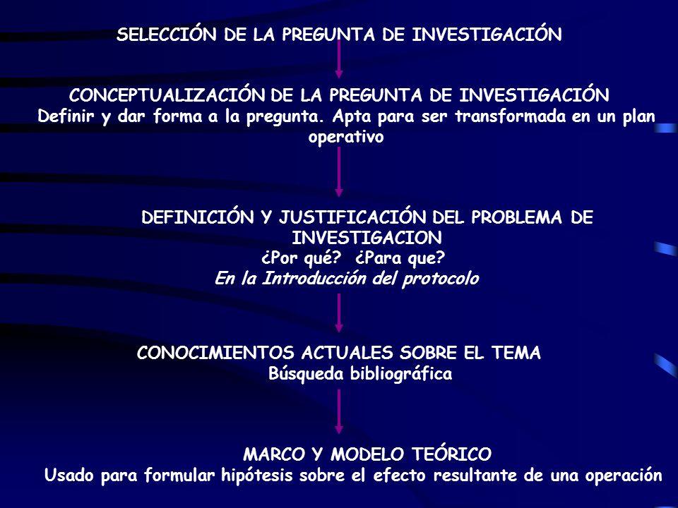 SELECCIÓN DE LA PREGUNTA DE INVESTIGACIÓN