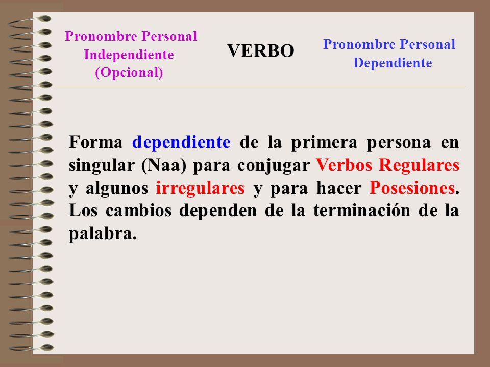Pronombre Personal Independiente. (Opcional) VERBO. Pronombre Personal. Dependiente.