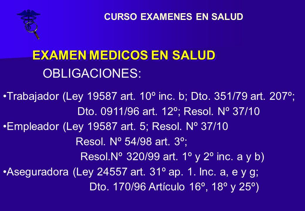 EXAMEN MEDICOS EN SALUD