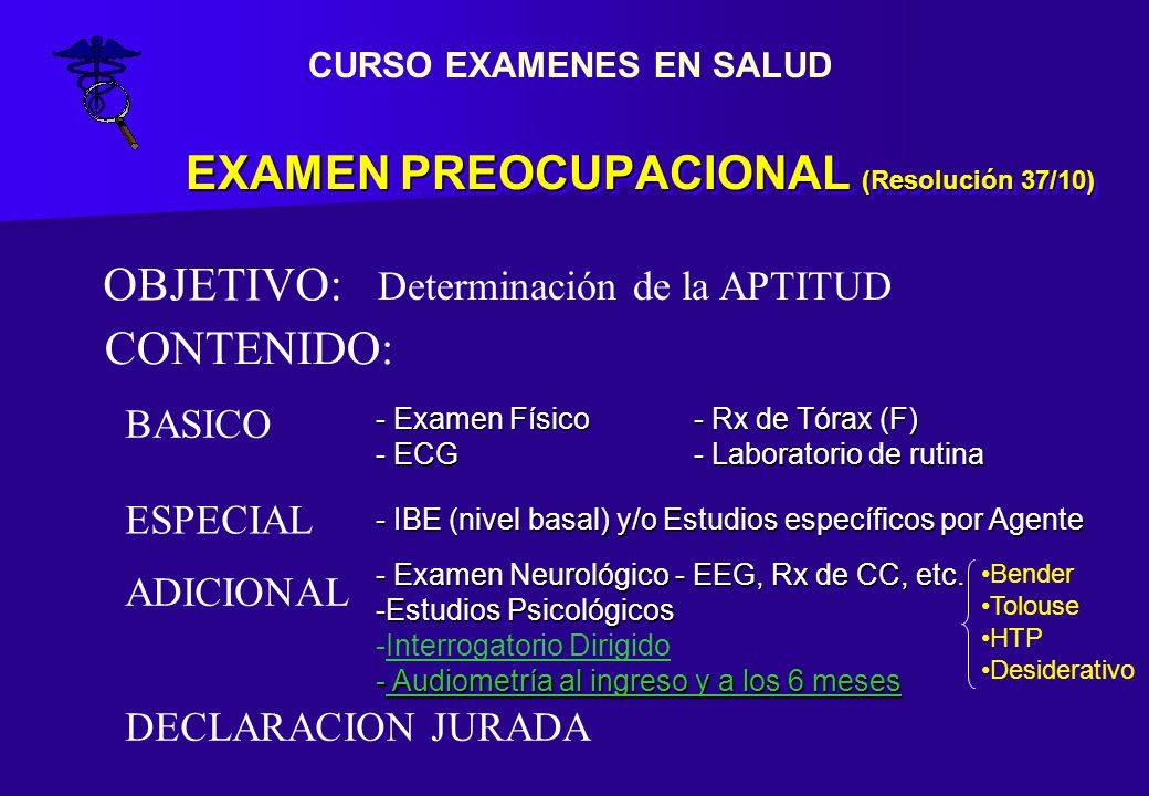 EXAMEN PREOCUPACIONAL (Resolución 37/10)