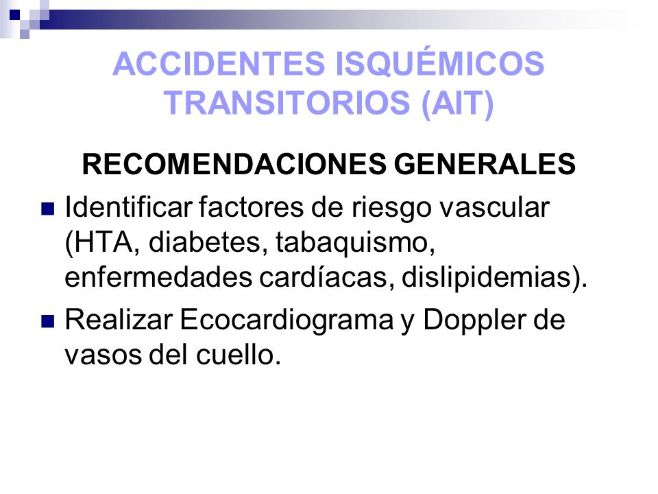 ACCIDENTES ISQUÉMICOS TRANSITORIOS (AIT)