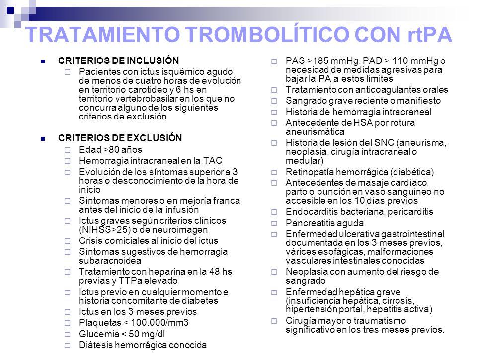 TRATAMIENTO TROMBOLÍTICO CON rtPA