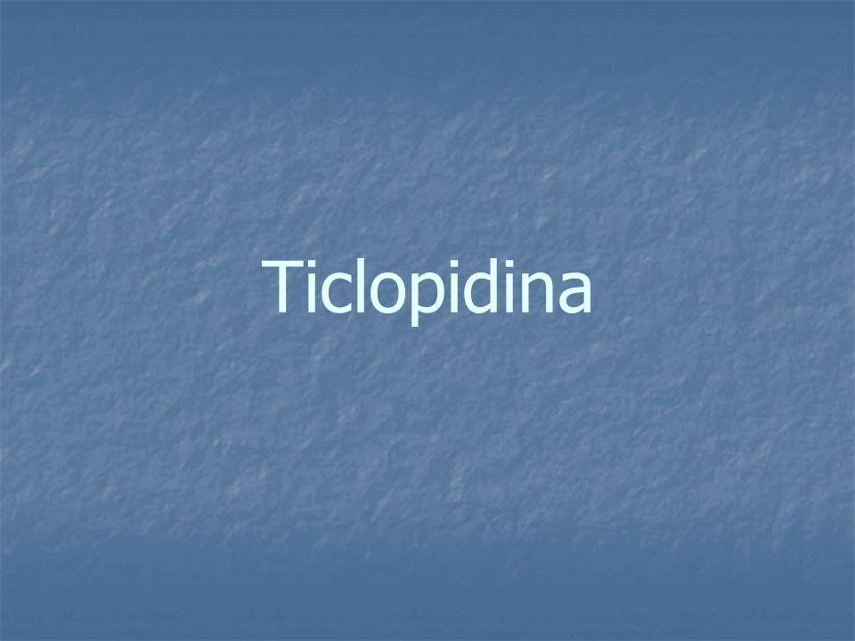 Ticlopidina La ticlopidina es la primera generación de tienopiridinas, un grupo de drogas que bloquean la unión del ADP al receptor P2Y12.