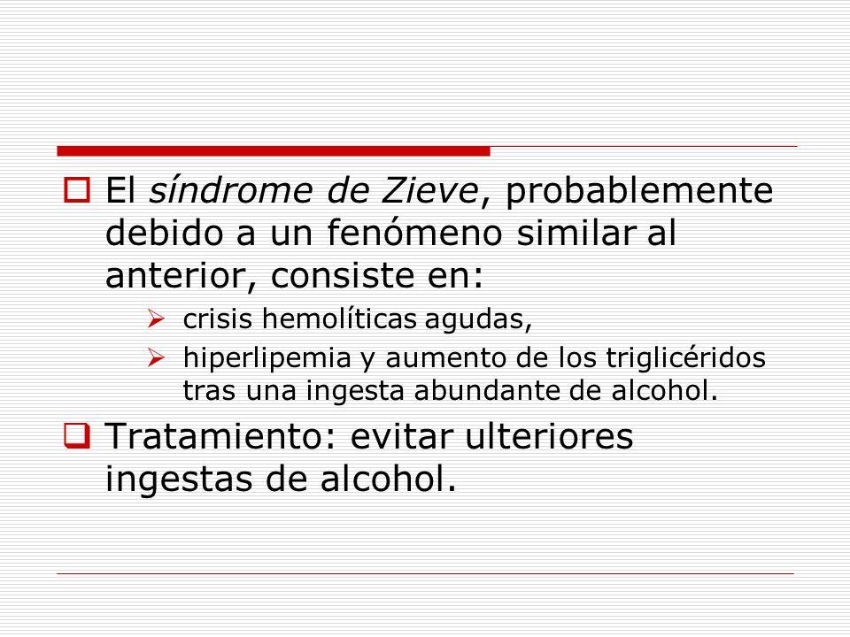 Tratamiento: evitar ulteriores ingestas de alcohol.