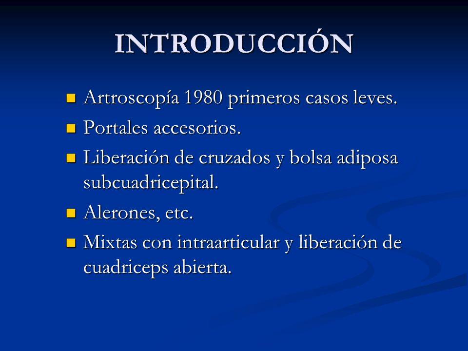 INTRODUCCIÓN Artroscopía 1980 primeros casos leves.