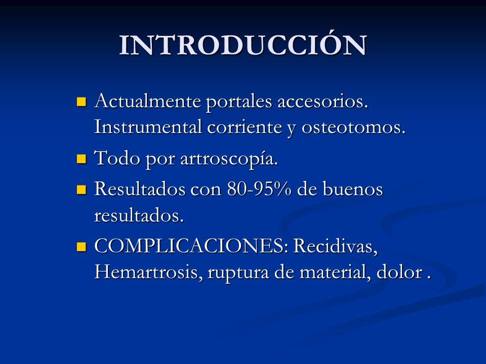 INTRODUCCIÓN Actualmente portales accesorios. Instrumental corriente y osteotomos. Todo por artroscopía.
