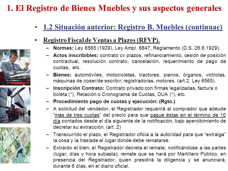 Registro De Bienes Muebles : El registro de bienes muebles y sus aspectos generales