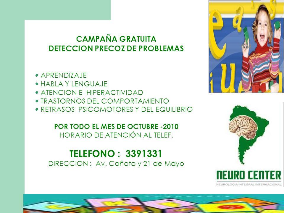 DETECCION PRECOZ DE PROBLEMAS POR TODO EL MES DE OCTUBRE -2010