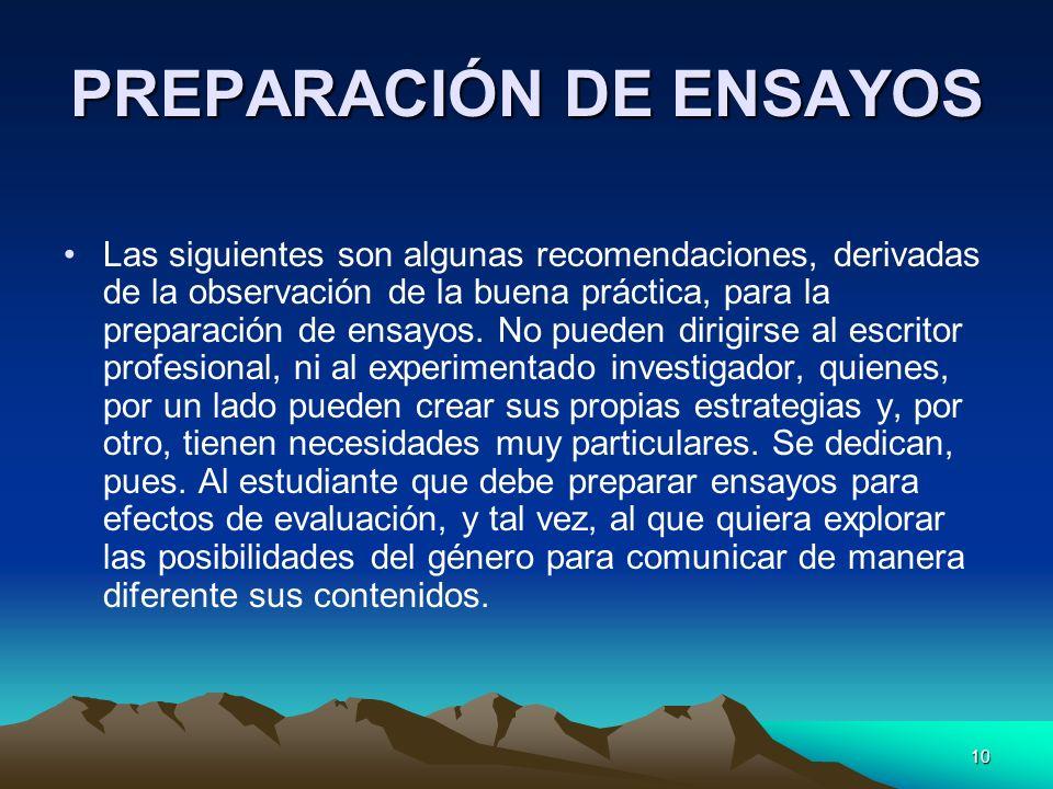PREPARACIÓN DE ENSAYOS
