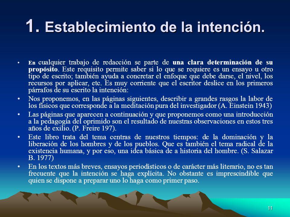 1. Establecimiento de la intención.